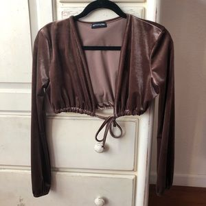 Fashion nova velvet mocha tie front long sleeve
